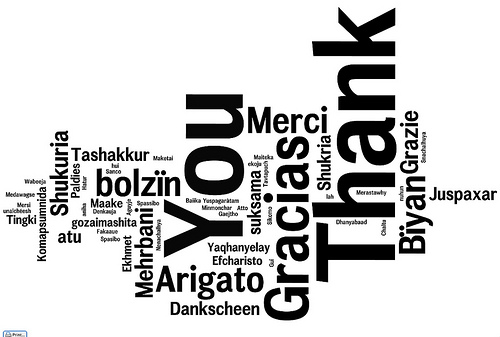 gratitude list - thank you